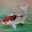 鯉と金魚の板絵を描きました。