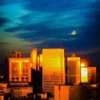 朝日と満月