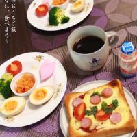 3日朝食 ピザトースト