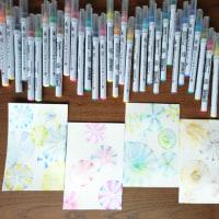 水彩アートでカード作り