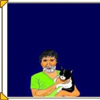 詩画・・・猫を抱く老馬券師