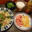 鶏カレーカツ と ぶっかけうどん と 白菜玉子とじ