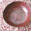 鉄赤とバナナ釉の果物鉢