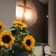 教会堂のお花は、太陽のようなひまわり。