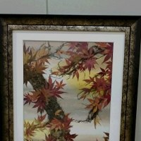 紅葉の押し花とトトロの押し花作品