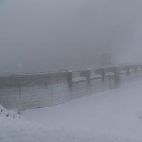 浅川ダム試験湛水103日、中間水位継続中?、大雪!