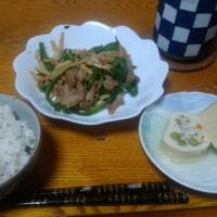 6月27日夕 青椒肉絲風、白身魚すり身と野菜の湯葉巻き