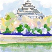 水彩画 岡山城