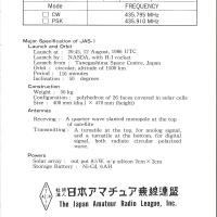 アマチュア衛星「ふじ」(FO-12)のベリカード(裏面)