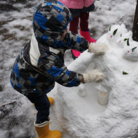 雪と戯れる一日