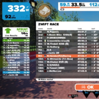 Zwift140分、Zwift Race9位/26人