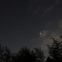 1月21日、宵の空、火星と金星の位置の変化。みずがめ、うお、くじら座。