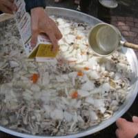 大鍋で芋煮会