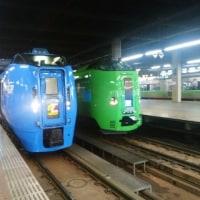 今朝の札幌駅ホームで