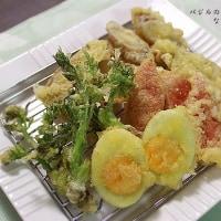 タラの芽と茹で卵の天ぷらとアサリ出汁巻き卵