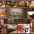 一枚板テーブル、ニレ材の耳付テーブル、幅広チェアー、クリのTVボード。一枚板と木の家具の専門店エムズファニチャーです。