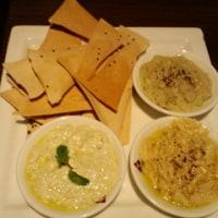 「hommus, babganoush, lebana, served with lavash」