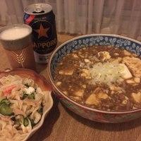 今日のお酒のあて  -麻婆豆腐&ツナのマカロニサラダ-