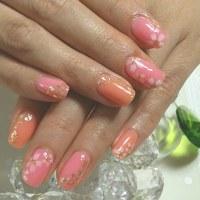 ジェルネイル 春カラー桜ネイル