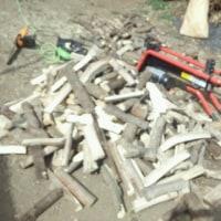 本日は薪作り。