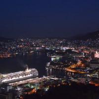 客船MSCリリカ 夜明け前の長崎港へ 2017/1/7