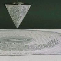 歪像画見る、、、あらら、円錐、、、、。