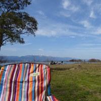 今日の琵琶湖と湖畔でランチ?!