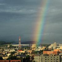 札幌ドームに虹が・・