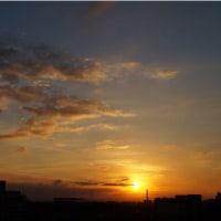 昨日、今日と日没時の焼けが美しかった