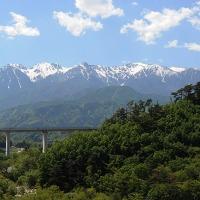 天竜川東岸から望む南駒ヶ岳