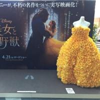 九州バラ祭に展示されている「美女と野獣」のドレス