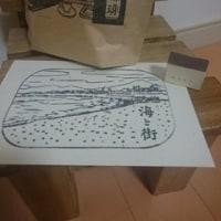 平岡瞳さんの版画と星屑珈琲さん