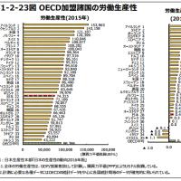 日本は労働生産性が国際的に見ても低すぎる。。。
