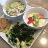 5/24コロコロサラダ 海苔ソース 油揚げのチーズと肉詰め焼き