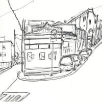 街の風景描いてます