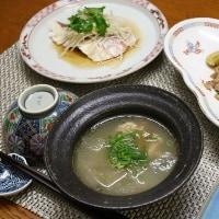 中華風献立 青梗菜と平茸のオイターソース炒め・白身魚の中華風蒸し物・スペアリブと冬瓜のスープ