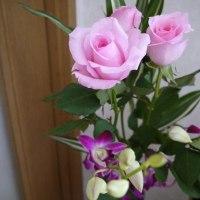 今日の仏花【薔薇とデンファレ】
