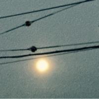 群青色の空にお月様