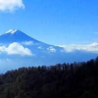 三つ峠から眺める富士山と浮雲