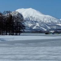 融雪剤を撒いた畑2)イワオヌプリ