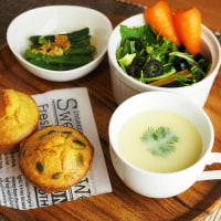 かぼちゃの塩マフィン 下仁田ネギとジャガイモのスープ