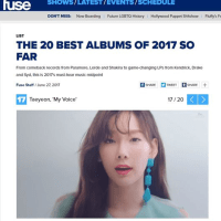 【韓流&K-POPニュース】少女時代 テヨン 米FUSE TV「2017上半期ベストアルバム20」に選定・・