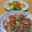 牛肉とトマト炒め☆豆腐キムチピザ