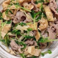 簡単☆豆苗,油あげ,豚肉の麺つゆ炒め