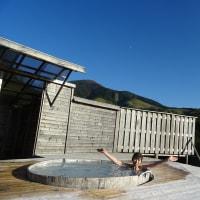 いよいよわいた山荘の天空露天に入浴