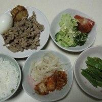 薄切り豚肉の生姜焼き、サヤエンドウ、ブロッコリー、黒酢玉ねぎスライスなど(単身生活の食事)