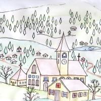 西洋の山村の塗り絵(2)