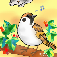 今日のお絵かき  小鳥と子猫