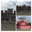夏祭りの櫓が作られていました。今週末ですね。