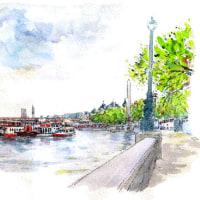 テムズ川の遊歩道から  世界わがスケッチの旅